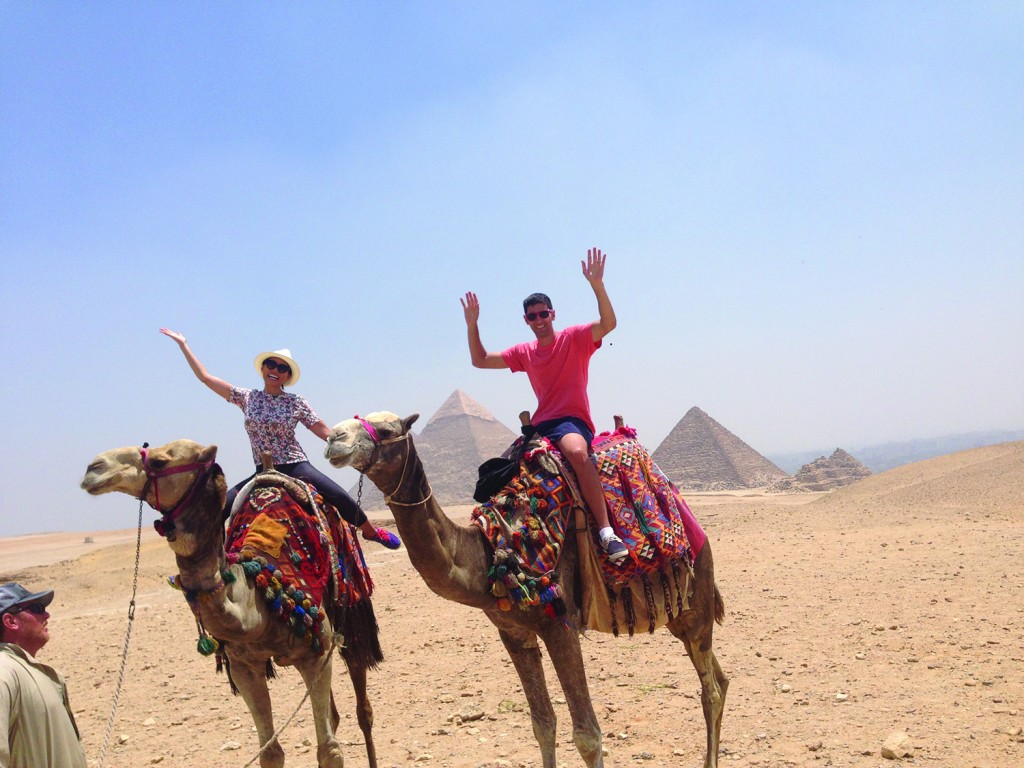 Dion and her husband on vacation in Egypt